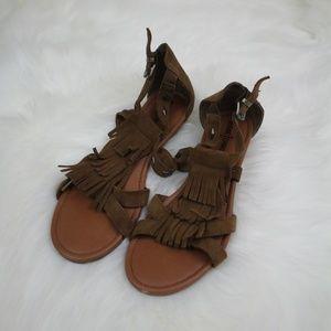 Minnetonka Maui Brown Fringe Sandals 8